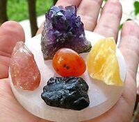 Meditacion Kit-Amethyst-Carnelian-Tourmaline-Orange And Red Calcite-Selenite Pla