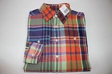 NWT RALPH LAUREN Size M 10/12 Boy's L/S Multi-Color Plaid Brushed Cotton Shirt