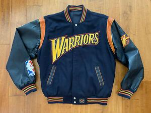 NBA Golden State Warriors JH Design Reversible Varsity Jacket Vintage Thunder