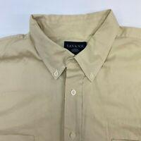 Savane Button Up Shirt Mens 2XLT Yellow Short Sleeve Casual