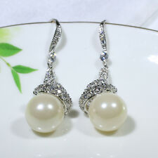 18K White Gold Filled CZ Shell Pearl Fashion Jewelry Lady Dangle Earrings E0767