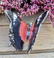 Porzellan Schmetterling Figur Rot Topfhänger Handbemalt Sammeln Klima Sammlung