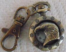 Eagle Head Coppertone Clip On Pocket Watch Montre Attache Aigle