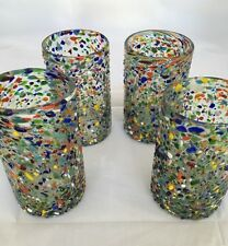 SET OF 4 MEXICAN CONFETTI WITH COLOR PEBBLES HANDBLOWN GLASS 15 OZ SET OF 4