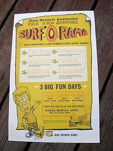 Vintage Surfer movie surf poster surfboard Don Brown longboard surf o rama 1963