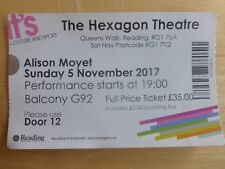 ALISON MOYET USED TICKET HEXAGON THEATRE READING 5TH NOVEMBER 2017