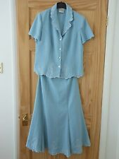 Eastex suit- Blouse- Skirt- UK 10- Blue- Duckegg- Party- Embroidery- Wedding