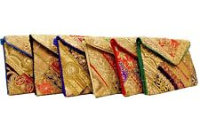 Small MultiColour Fabric Envelope Clutch Bag, Ethnic Indian embroidery Hippy bag