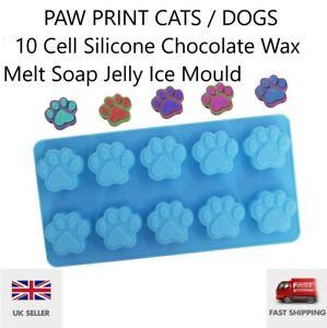 Paw print Cat Dog  Silicone Chocolate Wax Melt Soap Jelly Ice Mould Baking UK