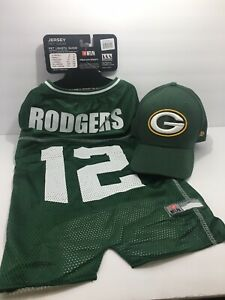 Green bay Packers Hat And Dog Jersey Aaron Rodgers