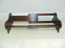 Vintage extendable sliding book trough, solid wood, park bench design, 1930s