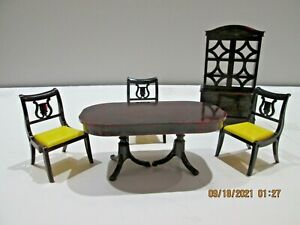 Vintage IDEAL Hard Plastic Dollhouse Furniture Table, Hutch & 3 Chairs