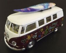 Die Cast MAROON 1962 Volkswagen Classic Hippie Bus VW 1:32 Scale Kinsmart