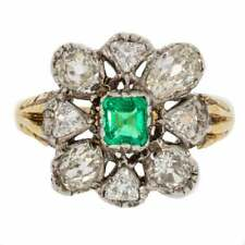 Antique Emerald And Mixed Old Cut Diamond Victorian Cluster Ring