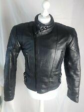 Vintage Black Leather Unisex Motorcycle Jacket Size 40 Mustang Bikers Jacket