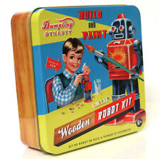 "Estilo Vintage ""Build & pintar un robot 'Kit Tin Box Retro de Madera Juguete Wu & Wu"