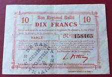 Mairie De Harly  ,Bon Régional Unifié 10 Francs ,saint Quentin