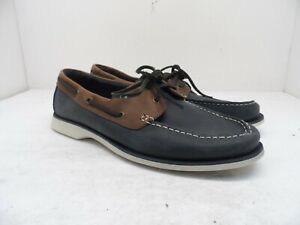 Clarks Men's 2 Eye Classic Casual Boat Shoe 11826 Navy/Brown Size 9M
