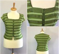 Minuet Ladies Green Silk Linen Stripe Fitted Button Front 50s Retro Top U.K. 16