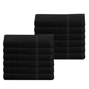 Cheap Bath Towels Black 100% Cotton 370 gsm Budget Quality Pack Set of 6