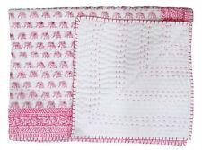 Indian Cotton Baby Quilt Kantha Work Coverlet Toddler Hand Block Print Blanket