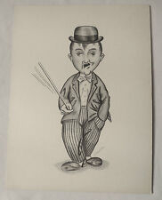 CHARLIE CHAPLIN ORIGINAL PENCIL DRAWING CARICATURE SIGNED
