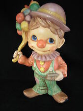 """Vintage Ceramic Clown Figurine Statue 12"""" Made in USA Circus Signed Handpainted"""