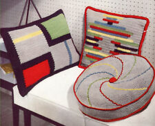 Vintage Crochet PATTERN to make Mid Century Modern Pillows 50s Three Designs