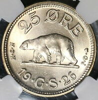 1926 NGC MS 65 Polar Bear Greenland Choice BU 25 ore Coin (17022501CZ)