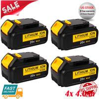 4XFor DeWalt 20V 20 Volt Max XR 4.0AH Lithium Ion Battery Pack DCB204-2 DCB206-2