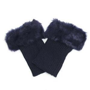 Women Boot Socks Knitted Warmer Faux Fur Cuffs Toppers Ankle Leg Plain Stockings