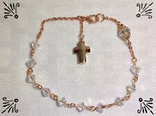 Handcrafted Rosary Bracelet MADE WITH Rose Gold Links And Swarovski Crystal AB