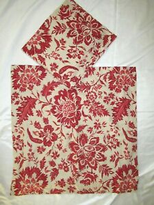 Pottery Barn Red Cream Linen Cotton Pillow Covers Euro Shams Set Of 2 Unused