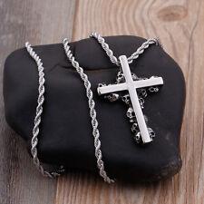 Biker Stainless steel 47*32mm Skull skeleton Jesus Cross pendant Necklace chain