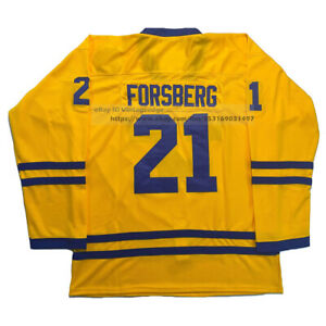 2002 Peter Forsberg #21 Team Sweden Hockey Jerseys Stitched Custom Names