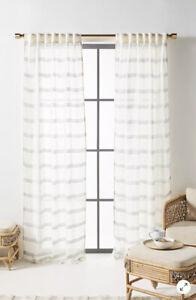 NEW Anthropologie Sami Curtain 50x84 Set Of 2 Gray Striped Linen