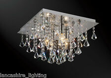 *SALE* Flush Ceiling Light In Chrome With Stunning Crystal Prism Droplets 4x60W