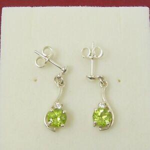 5mm Round Natural Peridot Gemstone Stud Earrings Genuine 925 Sterling Silver