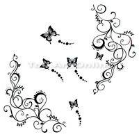 DIY Vine Butterfly Flower Flower Wall Stickers Decal Removable Art Decor Home