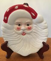 "New Pottery Barn figural Santa Plate 7"" Christmas Cookies for Santa, Open Box"