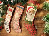 Pretty Hand Crafted Needlepoint Christmas Stocking Beard Santa Clause Cherubs