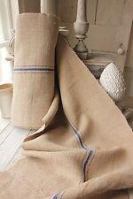 Vintage homespun grain sack fabric hemp 14yds Blue stripe organic material