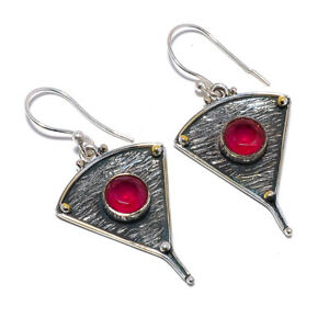 """Ruby Gemstone 925 Sterling Silver Israeli Jewelry Earring 1.95"""" W2419"""
