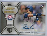 2019 Topps Series 2 Baseball legacy of baseball auto Patrick Wisdom RC 050/150
