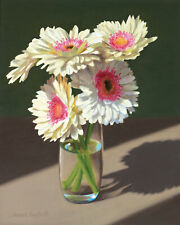 DANFORTH Five Daisies 10x8 floral still life oil painting original, flowers