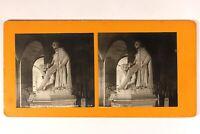 Francia Versailles Estatua Del Duque De Orleans Pradier c1900 Foto Estéreo Plata
