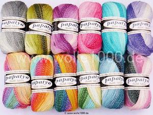 100g Papatya Batik Silver mit Farbverlauf und Glitzer ! (Grundpreis 2,99€/100g)