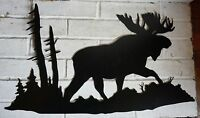 MOOSE IN FOREST BLACK CUT METAL WALL ART Lodge Log Cabin Home Decor Sign NEW
