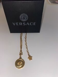Versace Medusa Head Gold Pendant Necklace 16 inches with Original Box and Tags