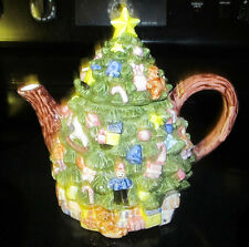 Ceramic Holiday Christmas Tree Teapot by Enesco Beverage Tea Pot Home Decor